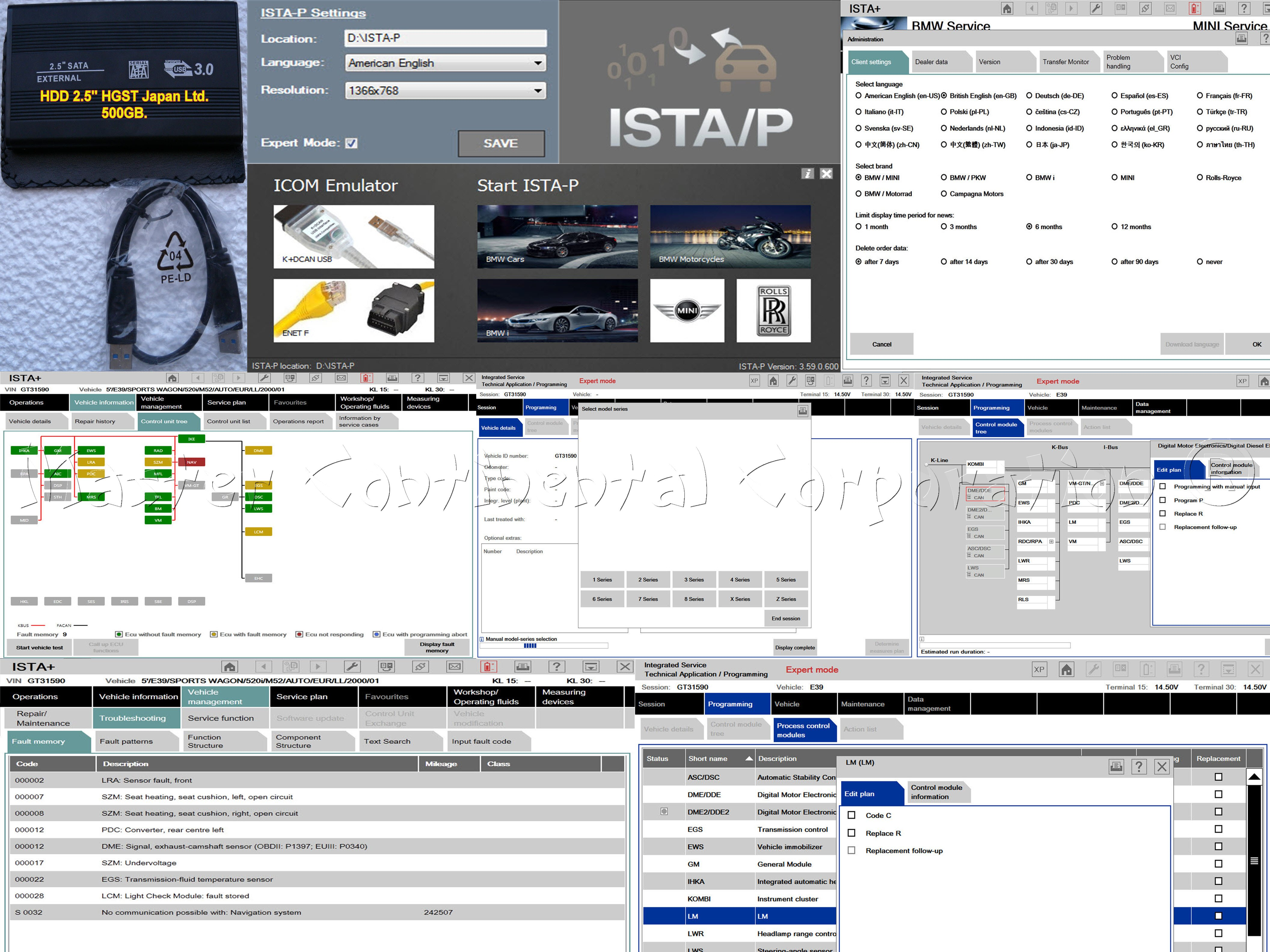 "BMW ISTA-D ISTA-P Diagnostics Coding F, G, I, Alpina series + HDD 2.5"" 500GB"