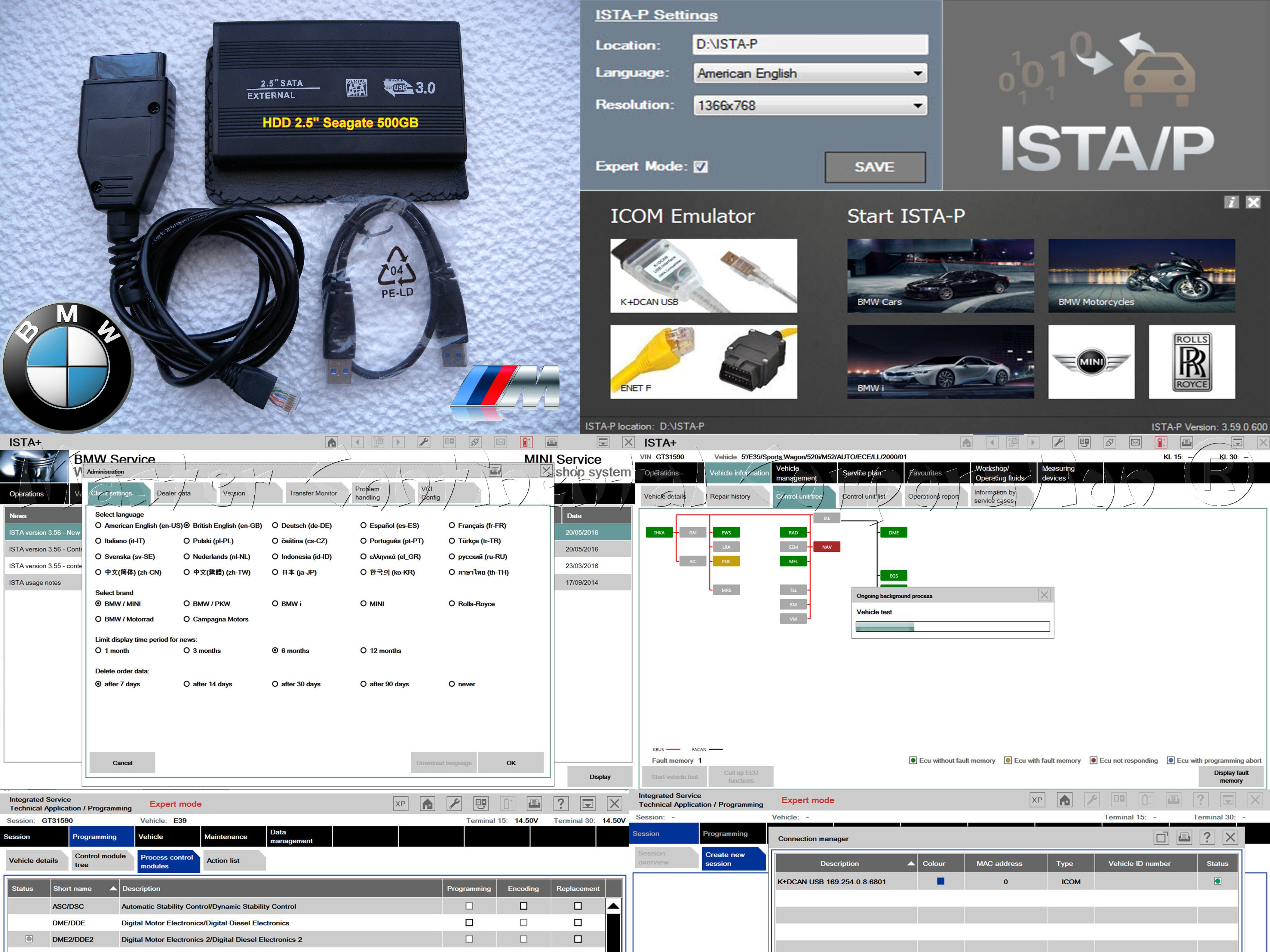 "BMW ISTA-D ISTA-P Diagnostics Coding F, G, I, Alpina series & ENET cable + HDD 2.5"" 500GB"