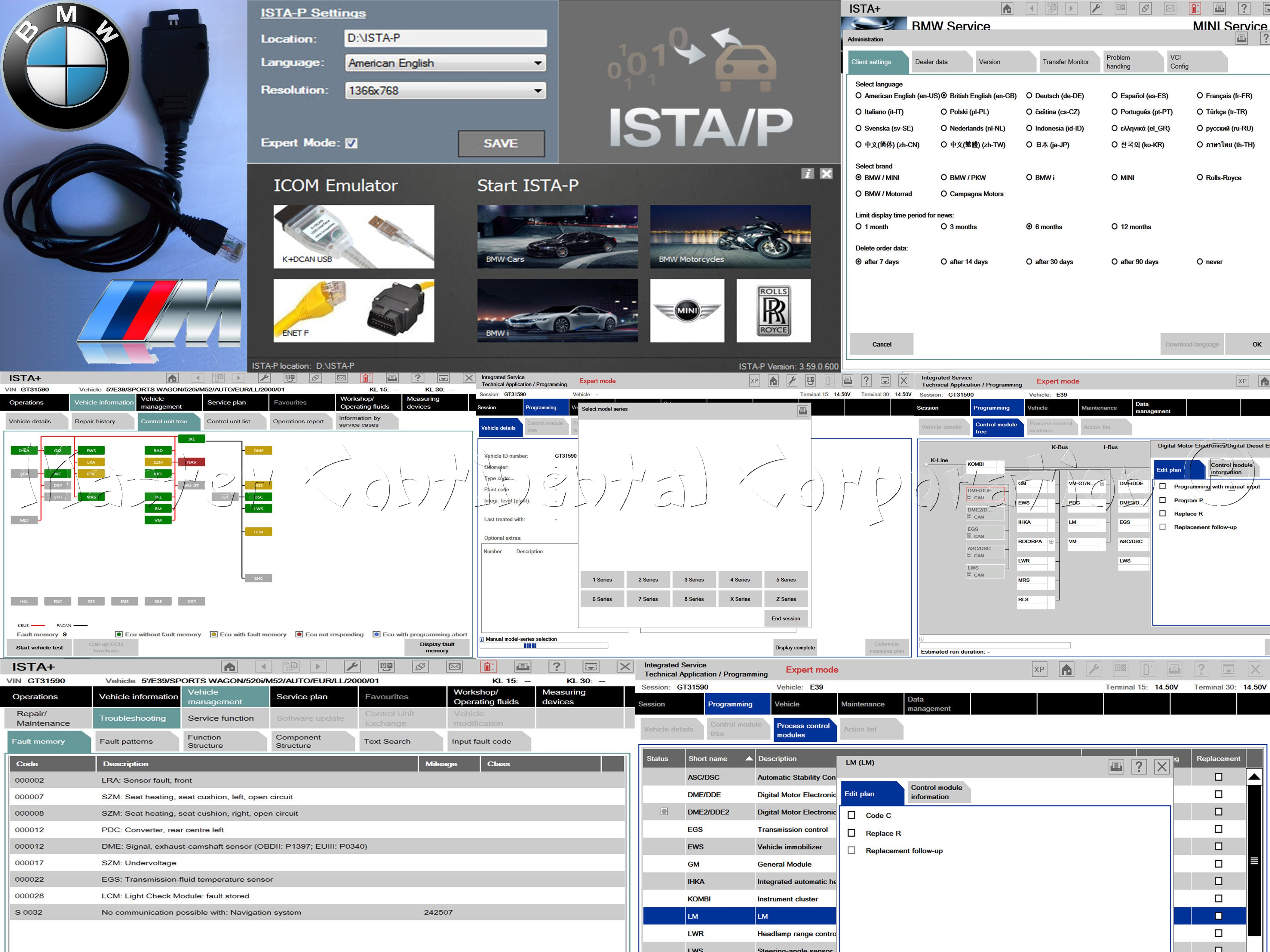 BMW ISTA-D ISTA-P Coding / Programming Diagnostics F, G, I, Alpina series 1985 - 2020 & ENET cable