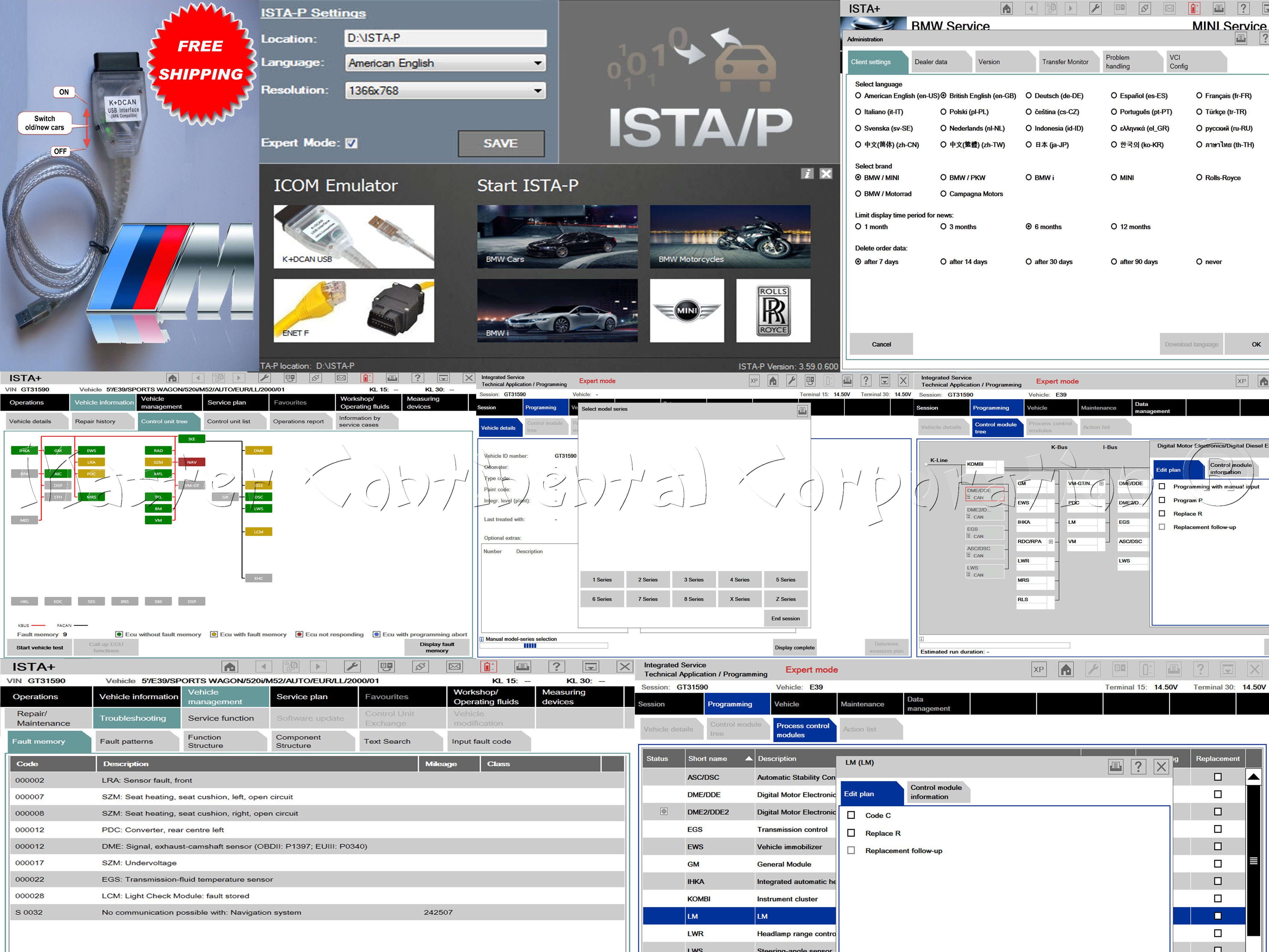 BMW ISTA-D ISTA-P Coding / Programming / Diagnostics E, F, G, I, Alpina series & USB K+DCAN cable